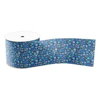 Blue cool bubbles pattern grosgrain ribbon