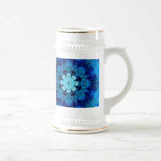Blue Coral Abstract Stein Coffee Mug