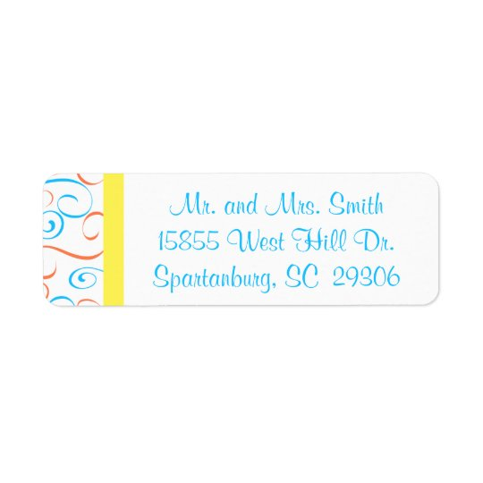 Blue, Coral, and Yellow Swirl Return Address label