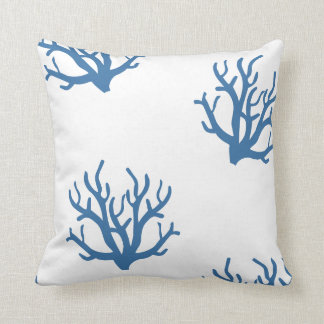 Blue coral coastal toss pillow