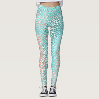 Blue Coral Dotted Lizard-like Pattern Leggings