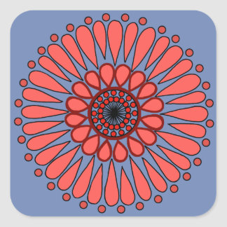 Blue - Coral Double Sunflower Mandala Square Sticker