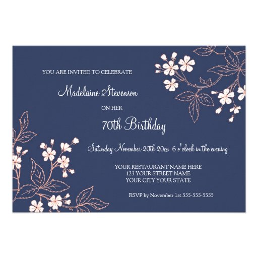 Blue Coral Floral 70th Birthday Party Invitations