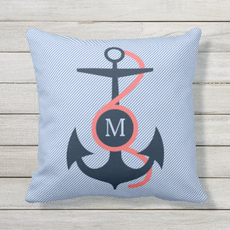 Blue & Coral Nautical Boat Anchor Outdoor Cushion