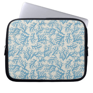 Blue Coral Pattern Laptop Sleeve