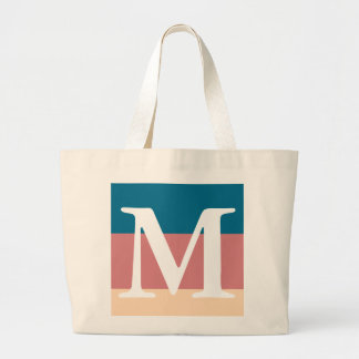 Blue Coral Peach Striped Color Palette Monogram Large Tote Bag