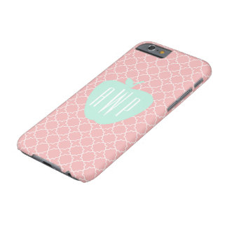 Blue + Coral Quatrefoil Monogram Teacher iPhone 6 Barely There iPhone 6 Case