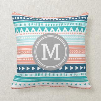 Blue Coral Tribal Monogram Decorative Pillow