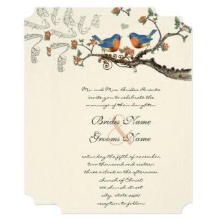 Blue Coral Vintage Bluebirds Wedding Invitations