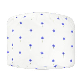 blue cornflower pouf