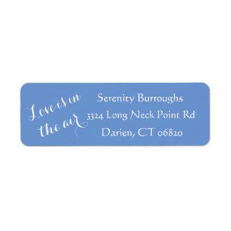 Blue Cornflower & White Love Quote Wedding Return Address Label