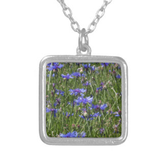 Blue cornflowers in a field silver plated necklace