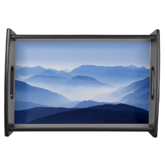 Blue Corno Nero mountain silhouettes in Italy Serving Tray