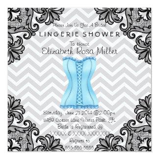 Blue Corset & Black Lace Lingerie Bridal Shower Invite