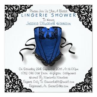 Blue Corset & Black Lace Lingerie Shower 5.25x5.25 Square Paper Invitation Card