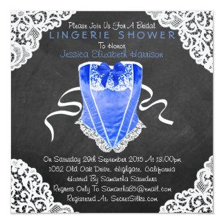 Blue Corset White Lace Chalkboard Lingerie Shower 13 Cm X 13 Cm Square Invitation Card