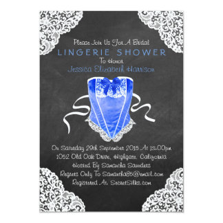 "Blue Corset White Lace Chalkboard Lingerie Shower 5"" X 7"" Invitation Card"