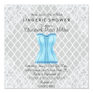 Blue Corset & White Lace Lingerie Bridal Shower Personalized Announcement