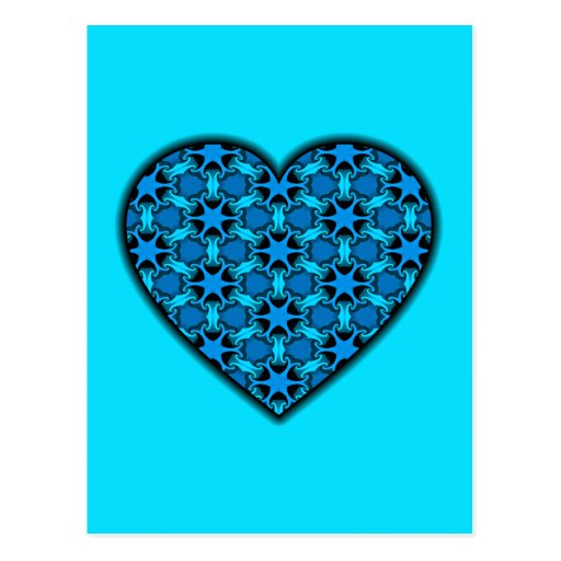 Blue Cosmic Burst Heart Postcard