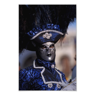 Blue Costume at Carnival of Venice Photograph