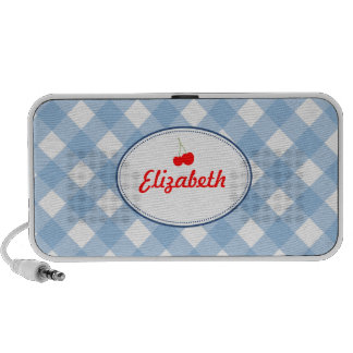 Blue country gingham pattern red cherry custom travel speakers