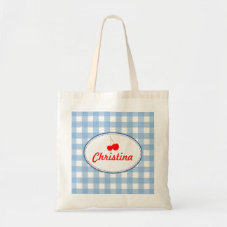 Blue country gingham pattern red cherry personal budget tote bag