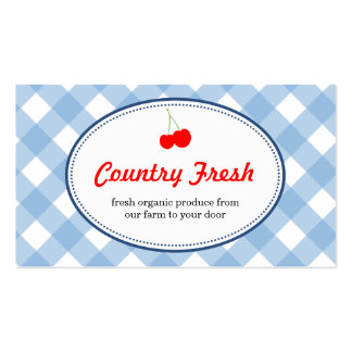 Blue country gingham pattern red cherry produce pack of standard business cards
