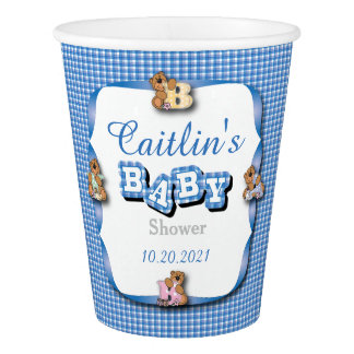 Blue Country Plaid with Baby Bears | Boy Shower Paper Cup