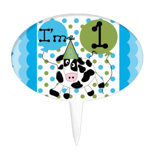 Blue Cow 1st Birthday Cake Topper
