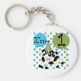 Blue Cow 1st Birthday Tshirts and Gifts Key Chain