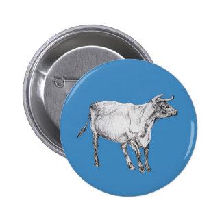 blue cow 6 cm round badge