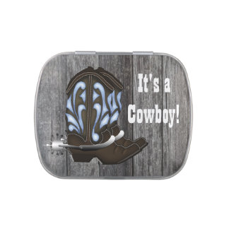 Blue Cowboy Boots Baby Shower Candy Candy Tins