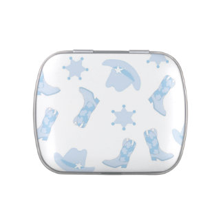 Blue Cowboy Boots Baby Shower Candy Jelly Belly Candy Tins