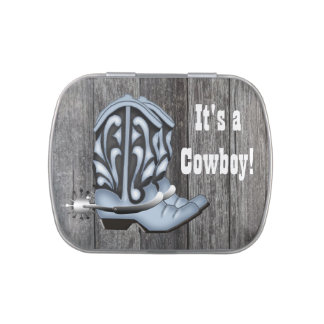 Blue Cowboy Boots Baby Shower Candy Jelly Belly Tin