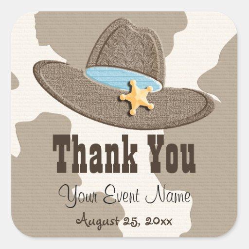 Blue Cowboy Hat Favor Labels Stickers