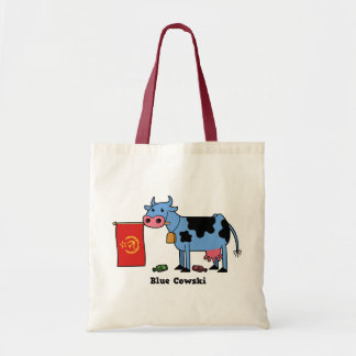 Blue Cowski Tote Bags