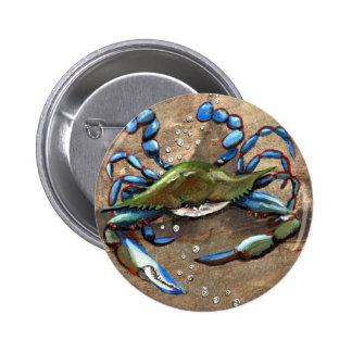 Blue Crab 6 Cm Round Badge