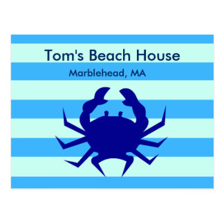Blue Crab Beach House Personalized Post Card