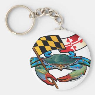 Blue Crab Maryland flag Basic Round Button Key Ring