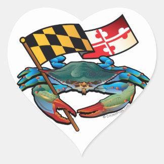 Blue Crab Maryland flag Heart Sticker