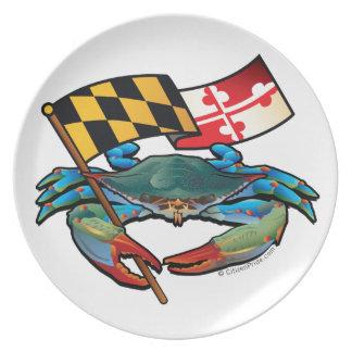 Blue Crab Maryland flag Plate