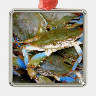 Blue Crab Metal Ornament