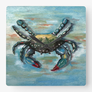 Blue Crab on Blue Clock