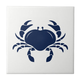 Blue Crab on White Ceramic Tile