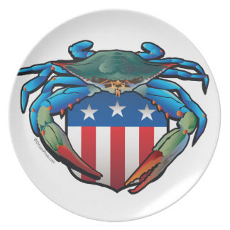 Blue Crab USA Crest Plate