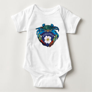 Blue Crab Virginia Dogwood Blossom Crest Baby Bodysuit