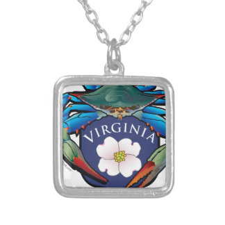 Blue Crab Virginia Dogwood Blossom Crest Silver Plated Necklace