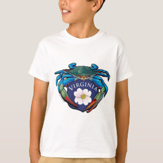 Blue Crab Virginia Dogwood Blossom Crest T-Shirt