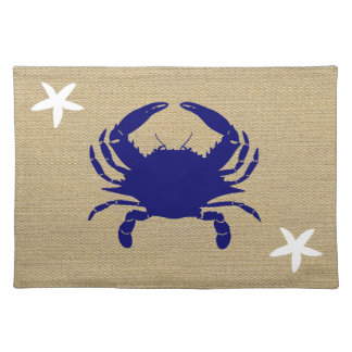 "Blue Crab & White Starfish Nautical Beach ""Burlap"" Placemat"