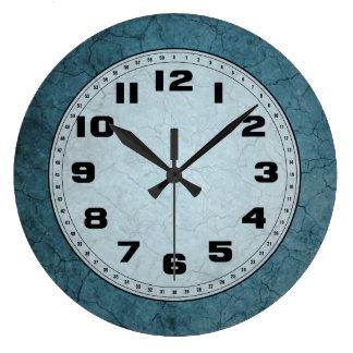 Blue Cracked Dirt Large Clock